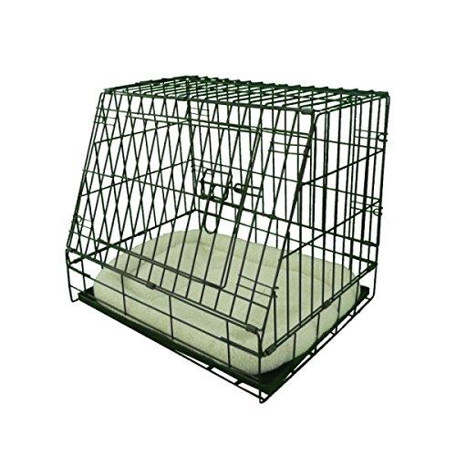 Ellie-Bo Deluxe Käfig für Hundewelpen, faltbar, mit Nicht kaubarer Metallablage, Fleece-Kissen und abgeschrägter Vorderseite für sicheren Autotransport, Größe S, 61°cm, Schwarz -