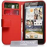 Yousave Accessories Huawei Ascend G740 Tasche Rot PU Leder Brieftasche Hülle