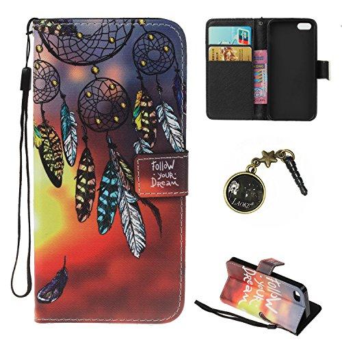 PU iPhone 5 Coque Bookstyle Étui Fleur Housse en Cuir Case à rabat pour iPhone SE / 5S /5 Coque de protection Portefeuille TPU Case Cover (+Bouchons de poussière) (7) 2