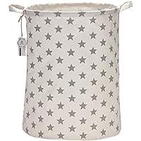 """Sea Team 19.7"""" Large Sized Waterproof Coating Ramie Cotton Fabric Folding Laundry Hamper Bucket Cylindric Burlap Canvas Storage Basket with Stylish Grey Stars Design"""