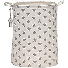 """Equipo de mar 19.7""""de tamaño grande resistente al agua revestimiento Ramie algodón tela plegable para ropa sucia cesta de almacenamiento cubo cilíndrico lienzo de arpillera con elegante diseño de estrellas"""