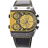 Mens Oversize 3 Time Zone Military Sport Leather Quartz Watch, Yellow