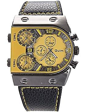 OrrOrr Dial-Schwarz Riemen Unisex PU Leder Armbanduhr Damenuhr Herrenuhr Quarz Sport Uhren Lederarmband Uhr Red