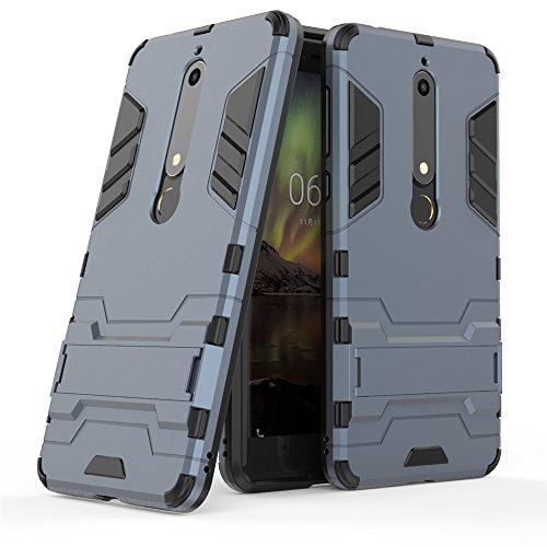MHHQ Nokia 6 Custodia, Nokia 6 Cover, 2 in 1 Nuovo Armour Stile Resistente Hybrid Dual Layer Armatura Defender PC + TPU Custodie con Supporto [Custodia Antiurto] per Nokia 6 -Black Plus Gray