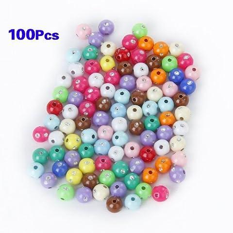 Gleader Lot de 100 Perles en Plastique Acrylique Colorees avec Strass de Scintillement 5mm