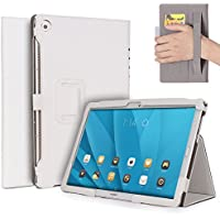 """M5 10 Funda,M5 Pro Funda,ISIN Folio Funda Case Cover Carcasa con Stand Función para Huawei Mediapad M5 10 CMR-AL09 CMR-W09/M5 Pro CMR-AL19 CMR-W19 10.8"""" Android Tablet con Correa para la Mano,Soporte para lápiz táctil y Ranuras para Tarjetas (Blanco)"""