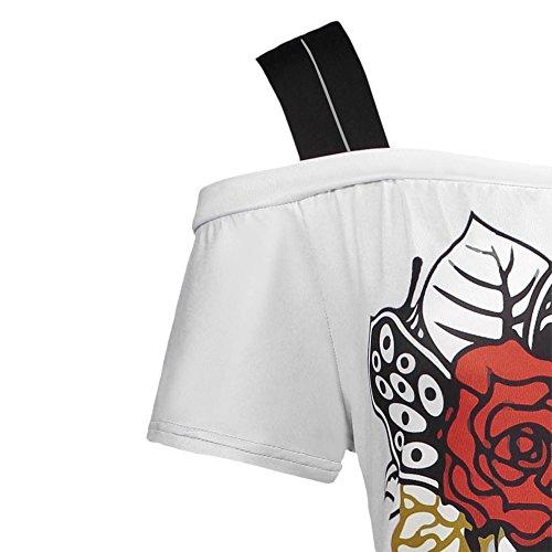 iBaste Übergröße Schulterfreies Oberteil Damen Blusen Off-Shoulder T-Shirts Lockere Oberteile damen Tops Weiß