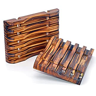 2pcs mano Craft Natural de madera jabonera baño madera jabonera, diseño de soporte para esponjas, estropajo, jabón