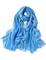 Prettystern - longue soie écharpe 210 cm Tie-Dye lavés optique tissu de couleur unie Femmes Hommes - sélection des couleurs