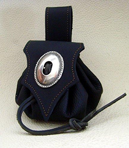 Lederbeutel Dukatenbeutel Geldkatze Farbe schwarz – schwarz - 2