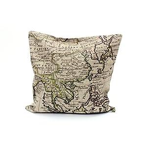 Almohada Klaas 40x 40cm Funda de cojín Vintage Mapa Atlas Mapa del Mundo ORO BLANCO Nostalgie Antiguo Lino almohada Vieja Texto Decoración Almohada