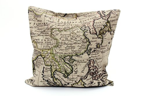 Kissenbezug Klaas 40x40cm Kissenhülle Vintage Landkarte Atlas Weltkarte Nostalgie Antik Leinen Kissen alte Schrift Dekokissen (weiß)