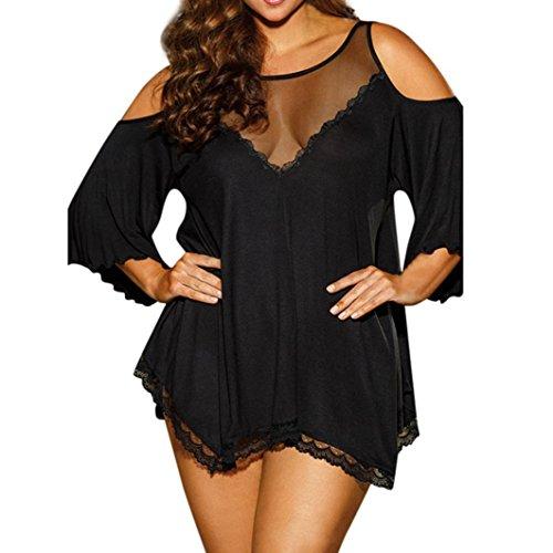Nachtwäsche Kleider Damen Sunday Plus Size Frauen Sexy Unterwäsche Babydoll Dessous G-String Set Solide Spitze Nachthemd (L, Schwarz) (Plus Größe 18 Brautkleider)