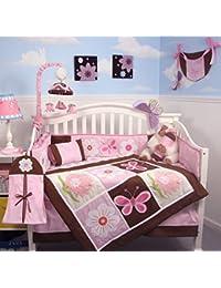 SoHo Sweetie Garden Tree Baby Crib Nursery Bedding Set 4 Pcs + 4 Pcs Diaper Bag Set (Total 8 Pcs Set)