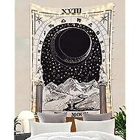 """Amkun, arazzo per tarocchi con luna, stelle e sole, arazzo europeo per divinazione, da appendere e come decorazione per la casa, decorazione per sala, camera da letto, The Moon, 59""""×82"""""""