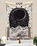 Amkun, arazzo per tarocchi con luna, stelle e sole, arazzo europeo per divinazione, da appendere e come decorazione per la casa, decorazione per sala, camera da letto, The Moon, 51'×59'