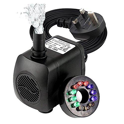 Cyfc Tauchpumpen, Mini Elektrische Brunnenpumpe Mit 12 LED Lichter Für Aquarium Brunnen Pool Gartenteich Englisch Stecker