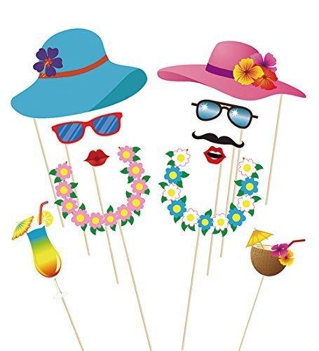 Anokay-Photo-Booth-Haiwaii-60-pcs-Kit-de-Photocalls-Mscaras-Prop-Foto-Atrezzo-Hawai-Accesorios-Colores-Gafas-Bigote-Labios-Pajarita-Sombreros-para-Fiesta-Mascarada-Navidad-Bodas-Aniversarios-Cumpleaos