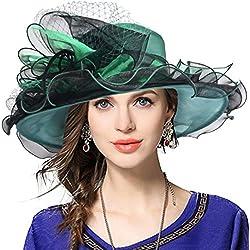 Damen Kirche Derby Kleid Fascinator Braut Mütze Britischer Tee Party Hochzeit Sonnenhüte (42b-Grün)