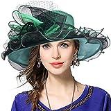 Mujeres Lglesia Derby Vestido Fascinator Gorro Nupcial Fiesta Boda Sombrero (42b-Verde)