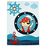 carpet city Kinder-Teppich mit Piratenmuster - Moda Kids 2030 Blau Größe 140/200 cm