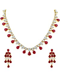 Mahi Gold Plated Traditional Designer Necklace Set With Sparkling Red And White CZ Stones NL1103145GRe