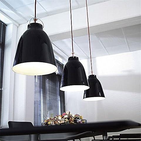 CAC Tamaño grande de 400mm moda moderna suspensión Caravaggio gran campana colgante de aluminio ligero para la lámpara 1 Comedor Bar,Black Lamp