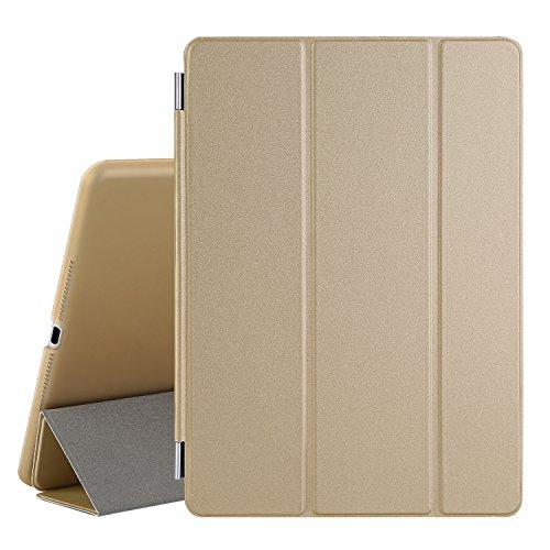 Besdata® iPad Air 2 Hülle - Ultra Dünn Edles Smart Cover Leder Case Schutz Hülle Tasche + Back Case für ipad air 2 ipad 6 - inkl. Displayschutzfolie Reinigungstuch Stift mit Multi Ständer Auto Sleep Wake (Golden, iPad Air 2)