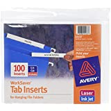 Avery WorkSaver Tab Inserts, 3.5 Inches, White, 100 Inserts (11137)