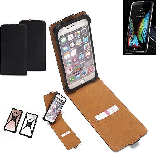 K-S-Trade Flipstyle Hülle für LG Electronics K10 (3G) Handyhülle Schutzhülle Tasche Handytasche Case Schutz Hülle + integrierter Bumper Kameraschutz, schwarz (1x)
