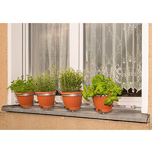 Blumentopfhalter Vario-Fix 'Solo' für vier Töpfe Ø15 bis 20cm, auf Fensterbänken, ohne bohren, nur verspannen