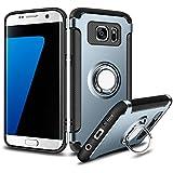 Coque Galaxy S7 Edge ,Coolden Housse de protection 360 degrés Bague Kickstand Plaque de métal Support Étui Défenseur Double couche Anti-Drop Anti-rayures Couverture de téléphone Pour Samsung Galaxy S7 Edge Marine