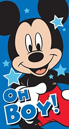 Disney Micky Maus Badetuch Oh Boy Baumwolle Badetuch, blau für Kinder, Jungen, 100% offiziell lizenziertes Produkt Tolle Geschenkidee