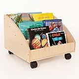 FLIXI Bücherkiste – Aufbewahrungsbox für Bücher aus Birkenholz mit Rollen – Platz für 30 Bücher – Holz Kiste für Kinder