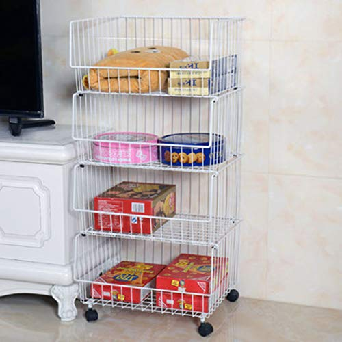 XMZFQ Metalldrahtkörbe Wagen Stapelbar Korb Organizer Roll Utility Cart Rack für Gemüse, Obst, Küche Pantry,4Tier -