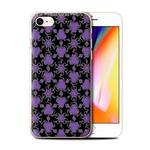 Stuff4 Hülle / Case für Apple iPhone 8 / Pack 8pcs / Zerstreute Sterne Kollektion Violettes Muster