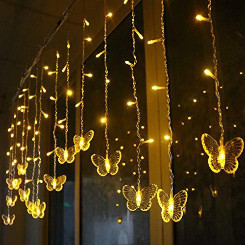 Igemy Led Schmetterling String Licht Wasserdicht Vorhang Weihnachten Urlaub Dekoration Lampen (Gelb)