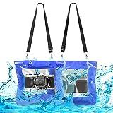 kwmobile Borsa impermeabile per fotocamera custodia waterproof per macchina fotografica - borsa subacquea XL con copertura per obiettivo