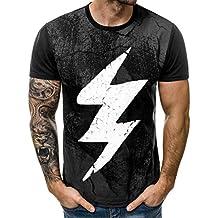 Waotier Camiseta De Manga Corta para Hombre Camiseta Cuello Redondo Impreso Casual De PatróN De Rayos