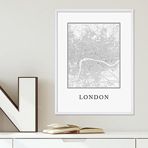 Karte Schwarz Und Weiß (Poster 'London Karte' 30x40 cm schwarz-weiss Motiv Natur Landschaft Map England)