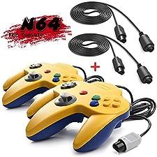 iNNEXT 2 Set Retro 64-Bit N64 Controller Gamepad Joystick für N64 Konsole N 64 System und 6ft / 1.8m N64 Verlängerungskabel Kabel für N64 Controller 64 Spielekonsole