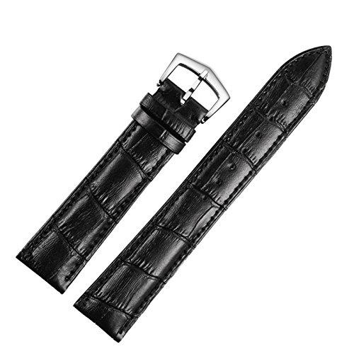 20 mm nero cinturini bande per imbottito in pelle per uomo o orologi da polso delle donne genuine opaco