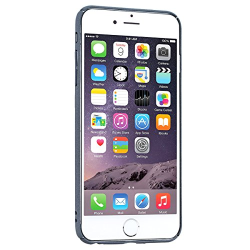 GrandEver iPhone 6 Plus/iPhone 6S Plus Hardcase Hülle Bumper Hartschale Hardskin Glitzer Rückschale Schutzhülle mit Ring Standplatz Ständer Halte Klar Dünne Ultra Slim Rückseite Clear Case Cover Handy Grau