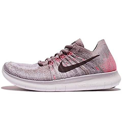 Nike Women's Free RN Flyknit 2017 Running Shoe TAUPE GREY/PORT