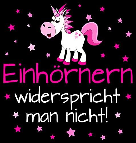Fashionalarm Herren T-Shirt - Einhörnern widerspricht man nicht! | Fun Shirt mit Spruch als Geschenk Idee für Unicorn-Fans Schwarz