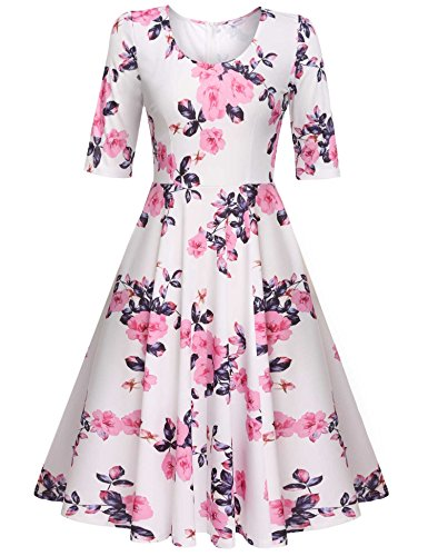 Meaneor Dress 1950 Stampa Floreale Pieghe Fluid Parte Thin Party Dress Vintage Rosa
