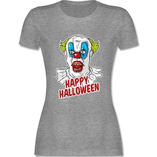 Halloween - Happy Halloween - Clown - S - Grau meliert - L191 - tailliertes Premium T-Shirt mit Rundhalsausschnitt für Damen (Der Joker Weibliche Halloween Kostüm)