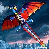FUYU Aquilone Drago 3D Aquilone Giocattolo per Bambini Divertimento attività di Volo all'aperto Gioco Bambini con Stoffa Divertimento di Sicurezza Aquilone Adulto Bambini Aquilone, Multicolore