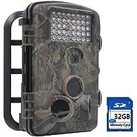 FULLLIGHT TECH Outdoor 1080P 12MP Trail macchina fotografica con visione notturna ANIMALI CON SENSORE DI MOVIMENTO A Infrarossi veloce Trigger digitale telecamera di sicurezza (basso Glow+32GB)