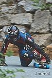 Journal: Male Blue Wheel Racer: Longboard Racer With Blue Wheels Blank Lined Journal